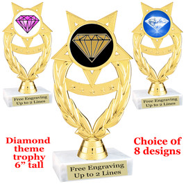 "Diamond  theme trophy.    6"" tall. Choice of art work and base.  (ph97"