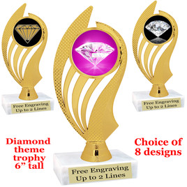 "Diamond  theme trophy.    6"" tall. Choice of art work and base.  (ph102"