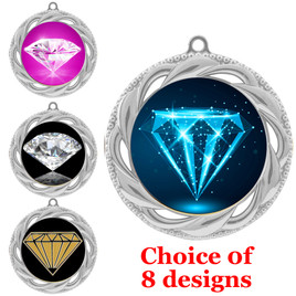Diamond theme medal.  Silver medal finish.  Choice of 8 designs. Includes free engraving and neck ribbon  (938s