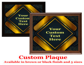 Custom Full Color Plaque.  Choice of black or brown plaque with full color plate.  5 Plaques sizes available - deco001