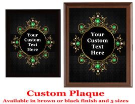 Custom Full Color Plaque.  Choice of black or brown plaque with full color plate.  5 Plaques sizes available - deco004