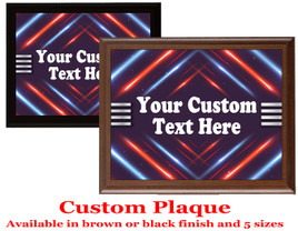Custom Full Color Plaque.  Choice of black or brown plaque with full color plate.  5 Plaques sizes available - deco005