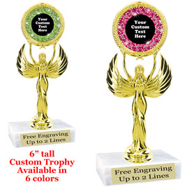 "Custom trophy with sequin design artwork.  Choice of 6 colors.  6"" tall.  (80087"