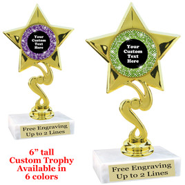 "Custom trophy with sequin design artwork.  Choice of 6 colors.  6"" tall.  (80106"