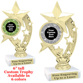 "Custom trophy with sequin design artwork.  Choice of 6 colors.  6"" tall.  (H208"