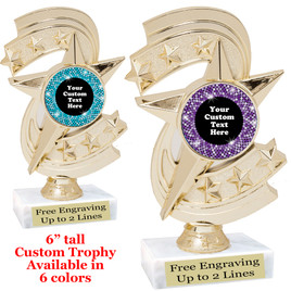 "Custom trophy with sequin design artwork.  Choice of 6 colors.  6"" tall.  (h300"