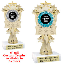 "Custom trophy with sequin design artwork.  Choice of 6 colors.  6"" tall.  mf3260"
