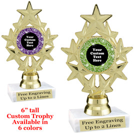 "Custom trophy with sequin design artwork.  Choice of 6 colors.  6"" tall.   ph75"