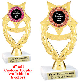 "Custom trophy with sequin design artwork.  Choice of 6 colors.  6"" tall.   ph97"
