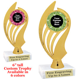 "Custom trophy with sequin design artwork.  Choice of 6 colors.  6"" tall.   ph102"