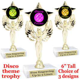 Disco Fever theme trophy with choice of art work.  (7517