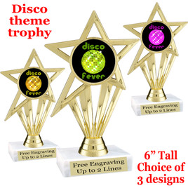 Disco Fever theme trophy with choice of art work.  (ph30