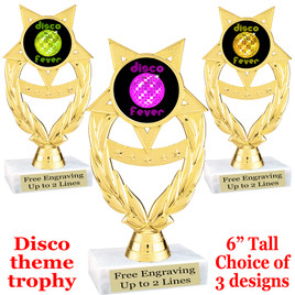 Disco Fever theme trophy with choice of art work.  (ph97