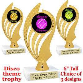 Disco Fever theme trophy with choice of art work.  (ph102
