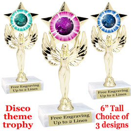 Disco Ball theme trophy with choice of art work.  (7517