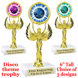 Disco Ball theme trophy with choice of art work.  (80087