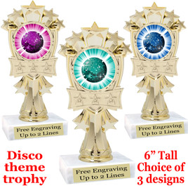 Disco Ball theme trophy with choice of art work.  (mf3260