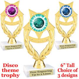 Disco Ball theme trophy with choice of art work.  (ph97