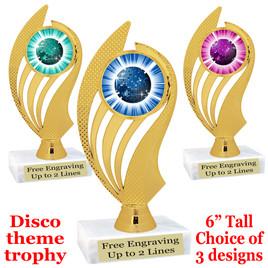 Disco Ball theme trophy with choice of art work.  (ph102