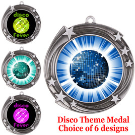 Disco theme medal.  Choice of 6 designs.  Includes free engraving and neck ribbon.  (disco - 930s