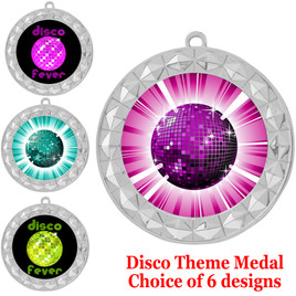 Disco theme medal.  Choice of 6 designs.  Includes free engraving and neck ribbon.  (disco - 935s