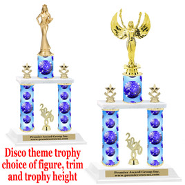 Disco theme 2-Column trophy.  Numerous trophy heights and figures available  (001
