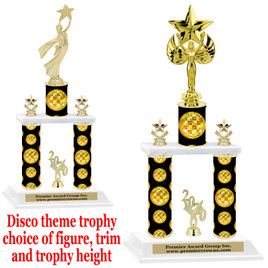 Disco theme 2-Column trophy.  Numerous trophy heights and figures available  (002