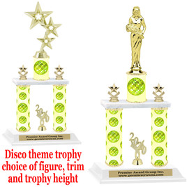 Disco theme 2-Column trophy.  Numerous trophy heights and figures available  (003