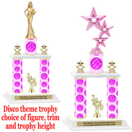 Disco theme 2-Column trophy.  Numerous trophy heights and figures available  (004