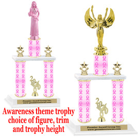 Pink Ribbon- awareness  theme 2-Column trophy.  Numerous trophy heights and figures available  (002