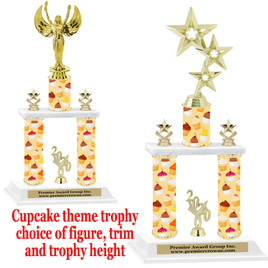 Cupcake  theme 2-Column trophy.  Numerous trophy heights and figures available  (001