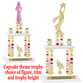 Cupcake  theme 2-Column trophy.  Numerous trophy heights and figures available  (002
