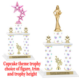 Cupcake  theme 2-Column trophy.  Numerous trophy heights and figures available  (003