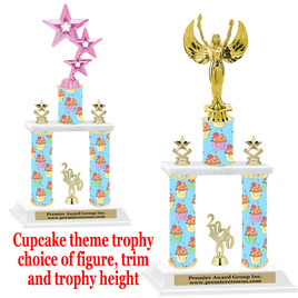 Cupcake  theme 2-Column trophy.  Numerous trophy heights and figures available  (004
