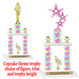 Cupcake  theme 2-Column trophy.  Numerous trophy heights and figures available  (005