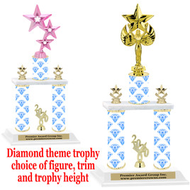 Diamond theme 2-Column trophy.  Numerous trophy heights and figures available  (001
