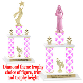 Diamond theme 2-Column trophy.  Numerous trophy heights and figures available  (002