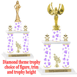 Diamond theme 2-Column trophy.  Numerous trophy heights and figures available  (003