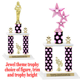 Jewel theme 2-Column trophy.  Numerous trophy heights and figures available  (001