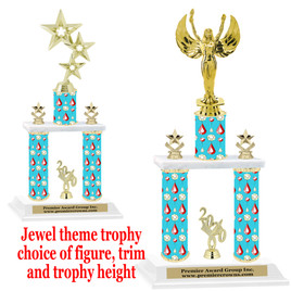 Jewel theme 2-Column trophy.  Numerous trophy heights and figures available  (002