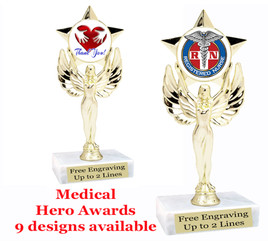 """Medical Hero theme trophy with choice of art work.  6"""" tall. (7517"""