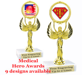 """Medical Hero theme trophy with choice of art work.  6"""" tall  (80087"""