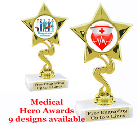 """Medical Hero theme trophy with choice of art work.  6"""" tall  (80106"""