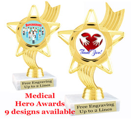 """Medical Hero theme trophy with choice of art work.  6"""" tall  (ph27"""
