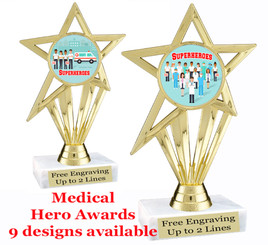 """Medical Hero theme trophy with choice of art work.  6"""" tall  (ph30"""