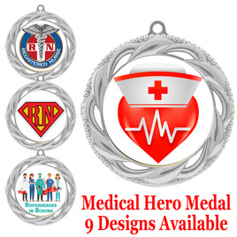 Medical hero theme medal.  Choice of 9 designs.  Includes free engraving and neck ribbon.  (hero - 938s