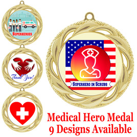 Medical hero theme medal.  Choice of 9 designs.  Includes free engraving and neck ribbon.  (hero - 938g