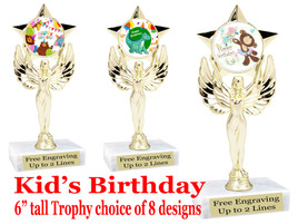 """Kids Birthday theme trophy with choice of art work. Great party favor!  6"""" tall  (7517"""