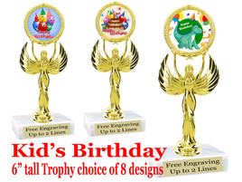 """Kids Birthday theme trophy with choice of art work. Great party favor!  6"""" tall  (80087"""