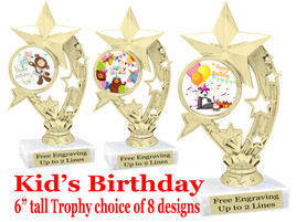 """Kids Birthday theme trophy with choice of art work. Great party favor!  6"""" tall  (h208"""